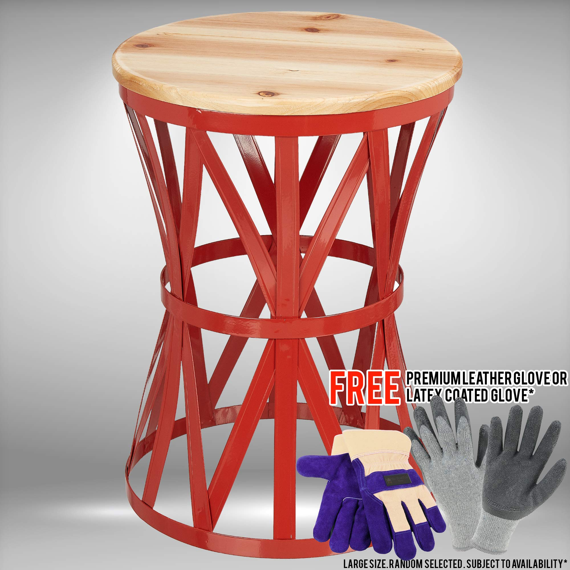 Mainstays Forset 18'' Red Metal Garden Stool with Wood Top Bundled with Free Premium Cowhide Leather Palm Gloves or Latex-Coated Gloves