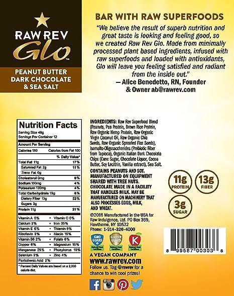 Amazon.com : Raw Rev Glo Vegan, Gluten-Free Protein Bars - Peanut ...