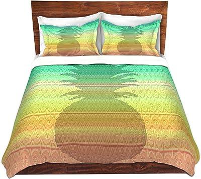 DiaNoche Designs Microfiber Duvet Covers by Susie Kunzelman Pineapple Rainbow 3 Queen ONLY