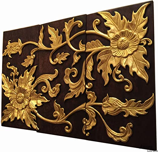 Amazon Com Elegant Asian Floral Carved Wood Wall Art Panel Gold Flower Relief Wood Wall Hanging 24 X36 Dark Brown And Gold Home Kitchen