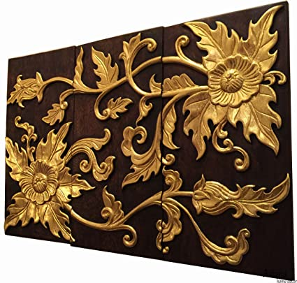 Amazon Com Elegant Asian Floral Carved Wood Wall Art Panel Gold