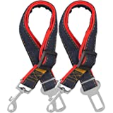 Dog Seat Belt, 2 Pack Adjustable Pet Car Seatbelt, Comsun Dog Harness Safety Leads, Cat Vehicle Traveling Leash, 17-26 Inch Adjustable Length (Red)
