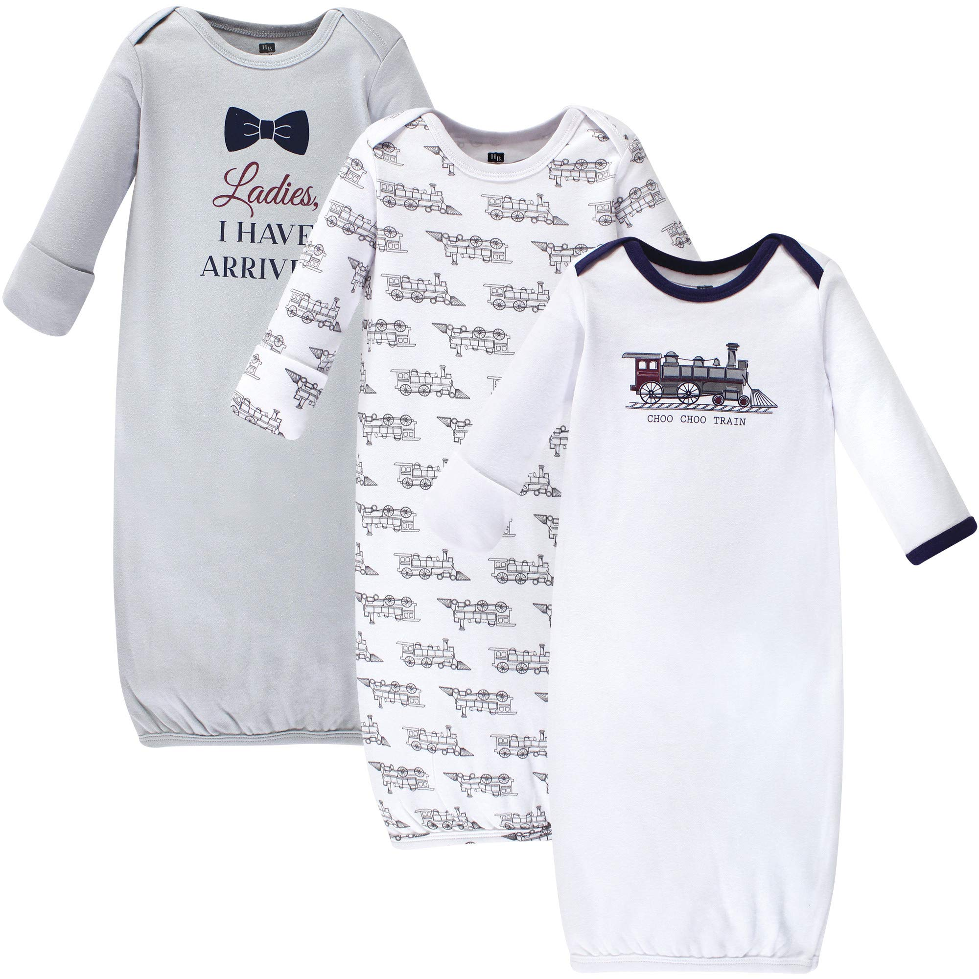 Hudson Baby Baby Cotton Gowns, Train 3 Pack, 0-6 Months