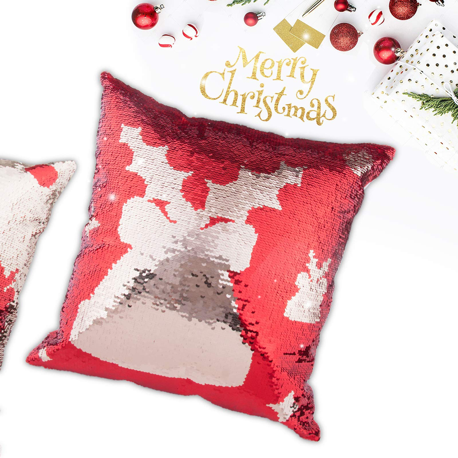 Moonen Bling Shining Merry Christmas Jingle Bell Pillow Case Throw Cushion Cover Sparkling Glitter Sequins Gift Home Decor Pillow Decorations for Christmas New Year (16x16)