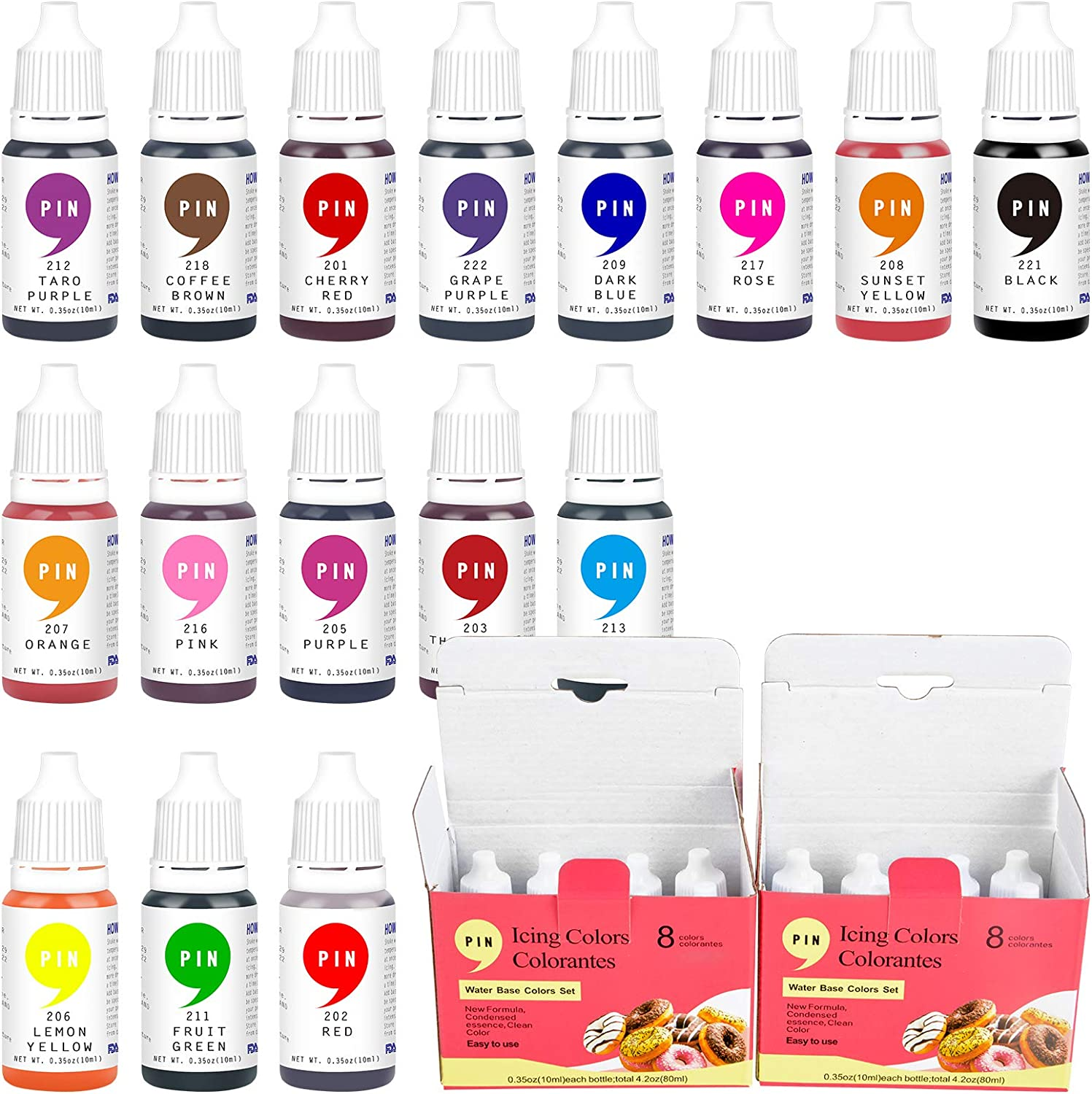 JIUPIN Food Color - 16 Color Vibrant Cake Food Coloring Set for Baking, Decorating, Fondant and Cooking - Upgraded Liquid Concentrated Icing Food Color Dye for Slime Making, DIY Crafts
