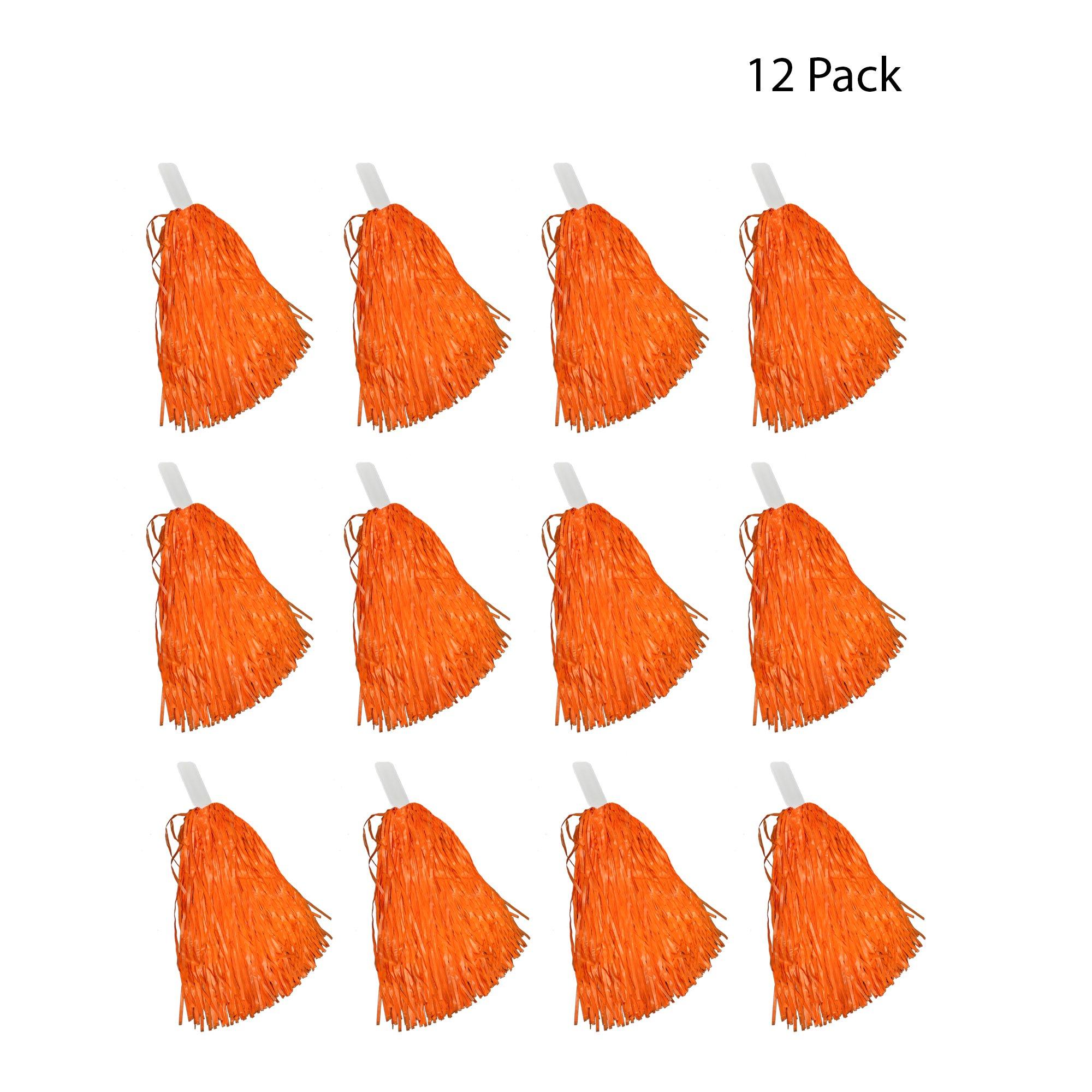 Windy City Novelties Cheerleader Pom Poms - 12 Pack (Orange)