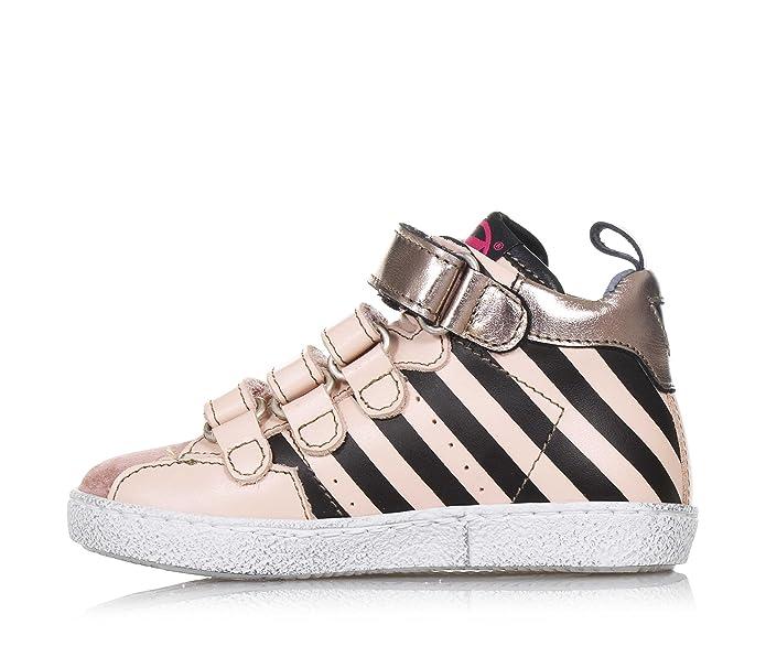 MOMINO - Sneaker rose et noire en cuir et suède, caractérisée par des matériaux d'haute qualité réalisés, Fille, Filles-29