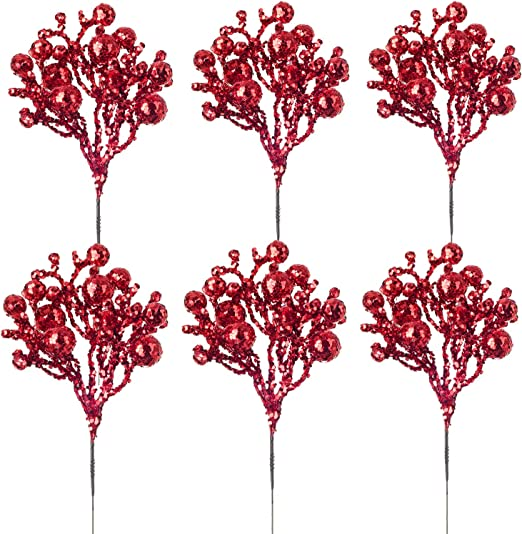 Glitter Artificial Berry /& Holly Christmas Bush x 7 Stems Gold or Silver Red