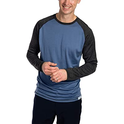 Woolly Clothing Men's Merino Wool Long Sleeve Baseball Shirt - Everyday Weight - Breathable Anti-Odor at Men's Clothing store