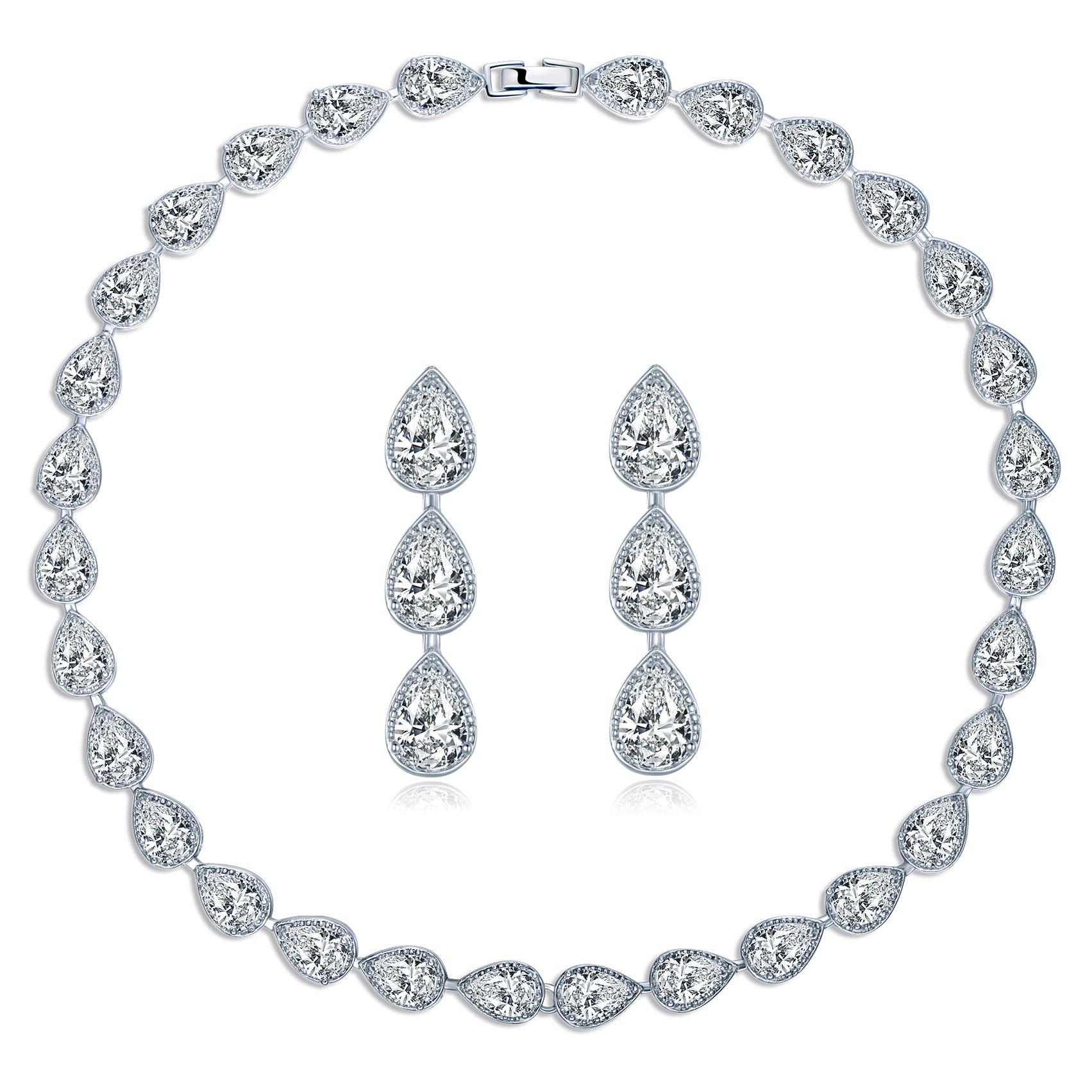 MASOP Water Drop Crystal Statement Choker Necklace Earrings Sets for Women Wedding Jewelry