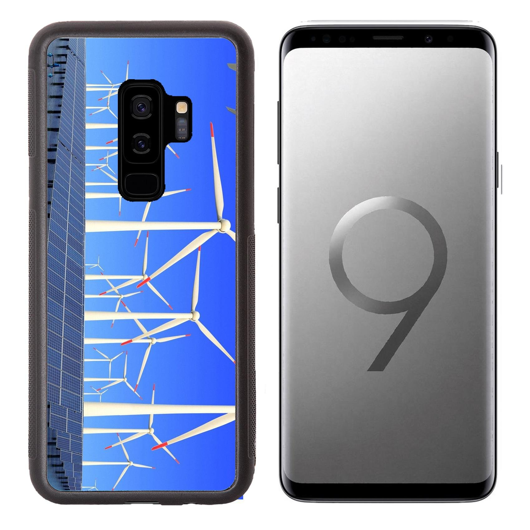 MSD Samsung Galaxy S9 plus Aluminum Backplate Bumper Snap Case IMAGE ID 19576484 Aircraft is flying in eco power of wind turbines and solar panel at c