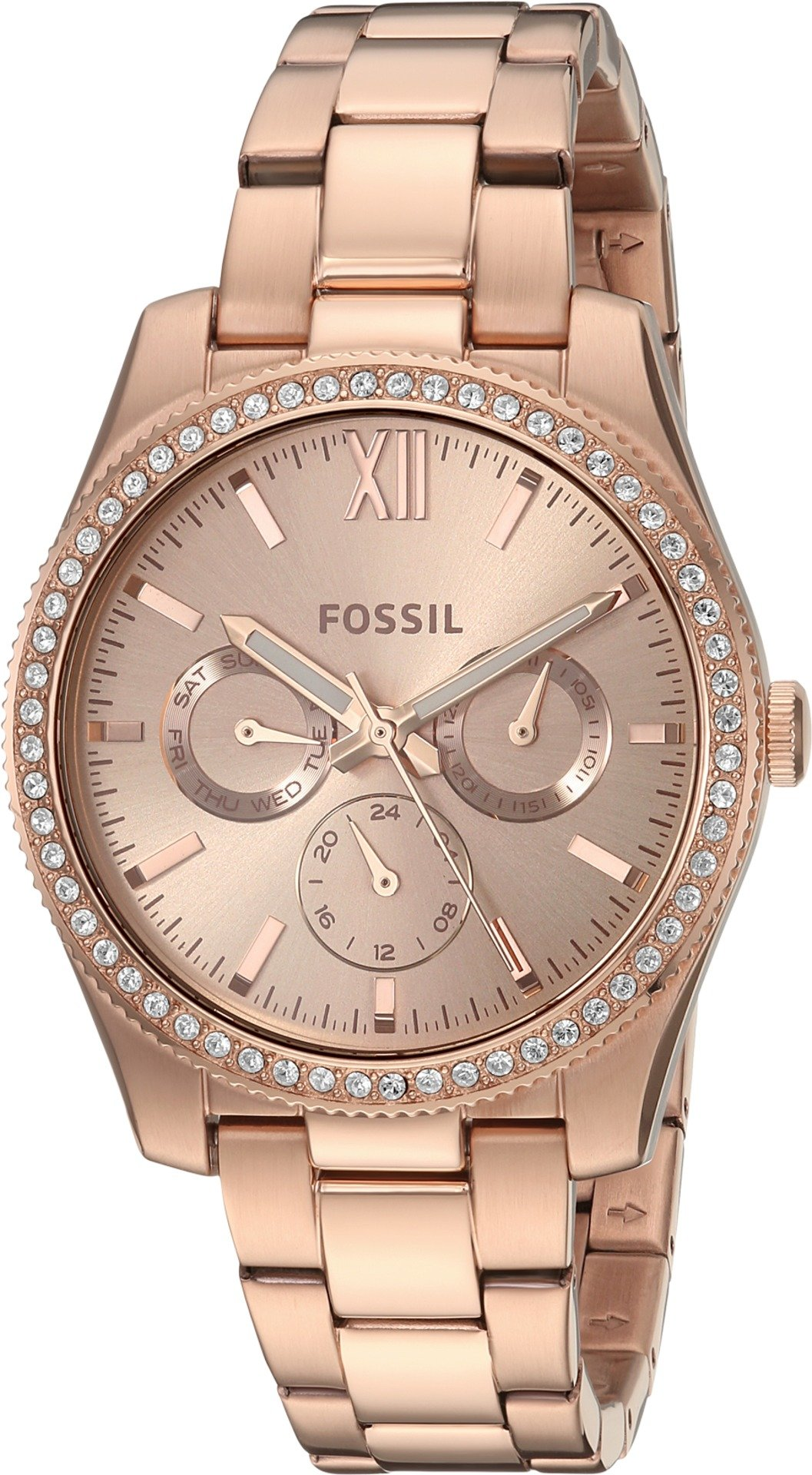 Fossil Women's 'Scarlette' Quartz Stainless Steel Casual Watch, Color:Rose Gold-Toned (Model: ES4315)