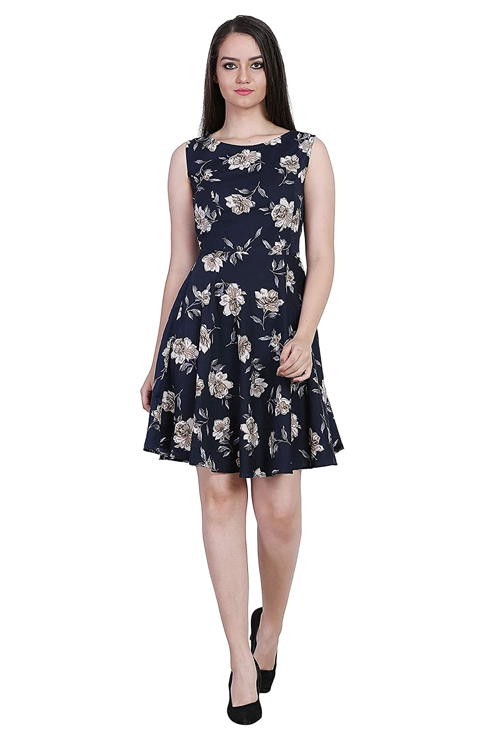 Buy Online Shopping Mall Stylish Printed Crepe A Line Midi Dress For Women S Girl S Size S M L Xl At Amazon In