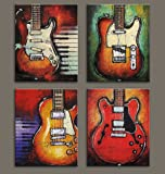 """VIIVEI Wall Art Abstract Guitar Canvas Red Purple Prints Paintings Home Decor Decal Life Pictures 4 Panel Large Posters HD Printed for Bedroom Living Room Framed Ready to Hang (12""""x16"""", 4 Panels)"""