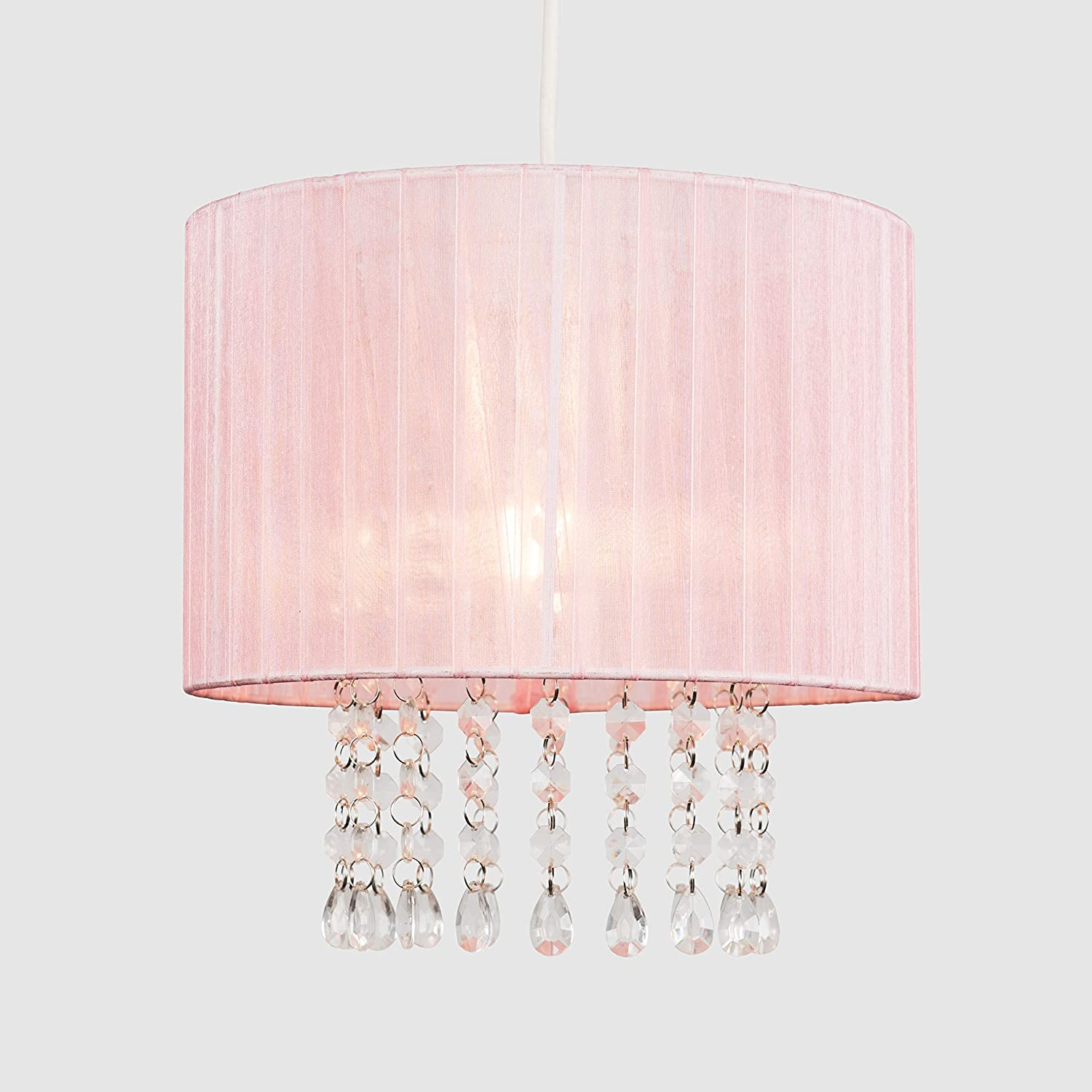 Modern Pink Voile Ribbon Wrapped Pendant Shade with Acrylic Droplets
