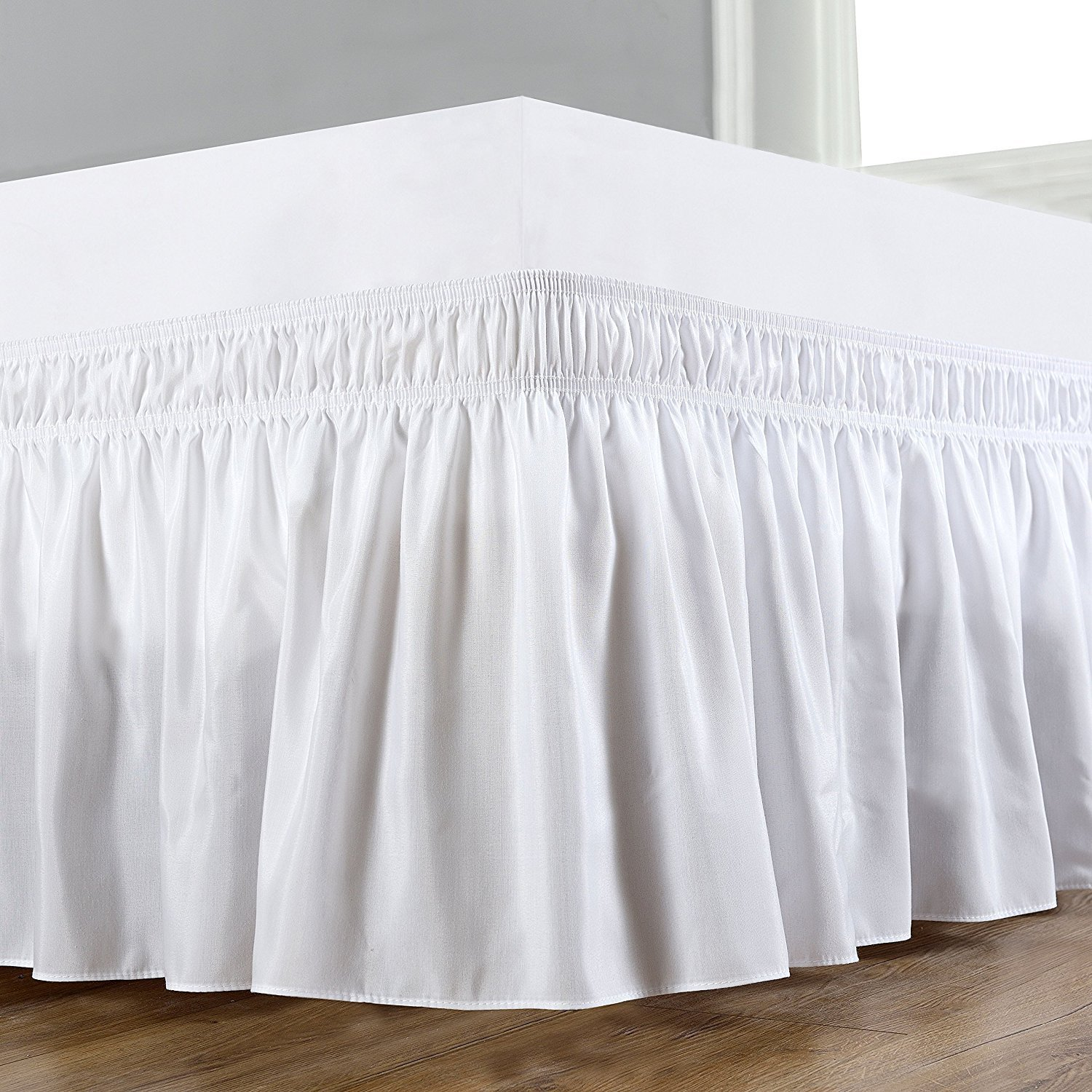 Great Craftsmanship Solid 400 Thread Count - Wrinkle & Fade Resistant - Egyptian Quality Wrap Around Elastic Bed Skirt with 15-inch Drop - White - California King