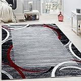 Tapis de Salon Moderne Avec Bordure Tapis De Marque Moucheté Gris Noir Rouge, Dimension:160x220 cm
