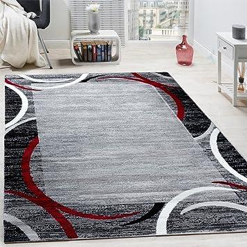 Paco Home Wohnzimmer Teppich Bordüre Kurzflor Meliert Modern Hochwertig Grau  Schwarz Rot, Grösse:160x220