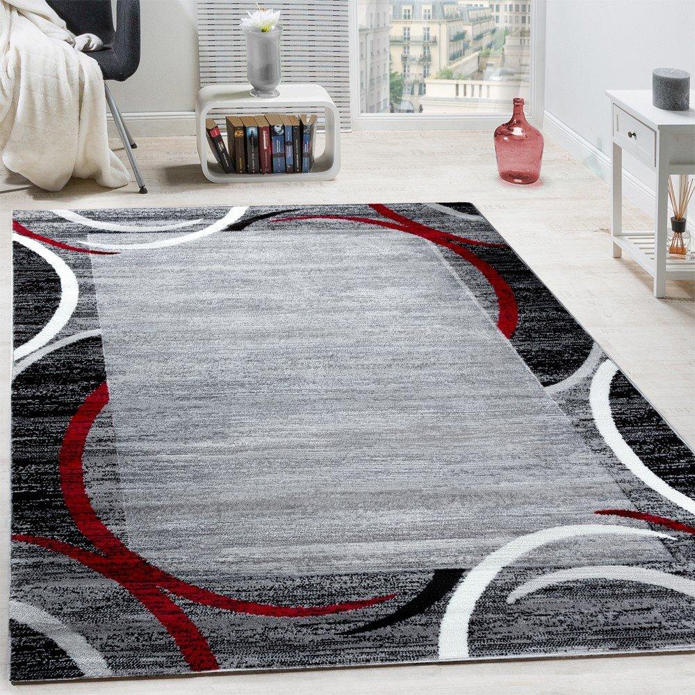 Paco Home Wohnzimmer Teppich Bordüre Kurzflor Meliert Modern Hochwertig Grau Schwarz Rot, Grösse 200x280 cm