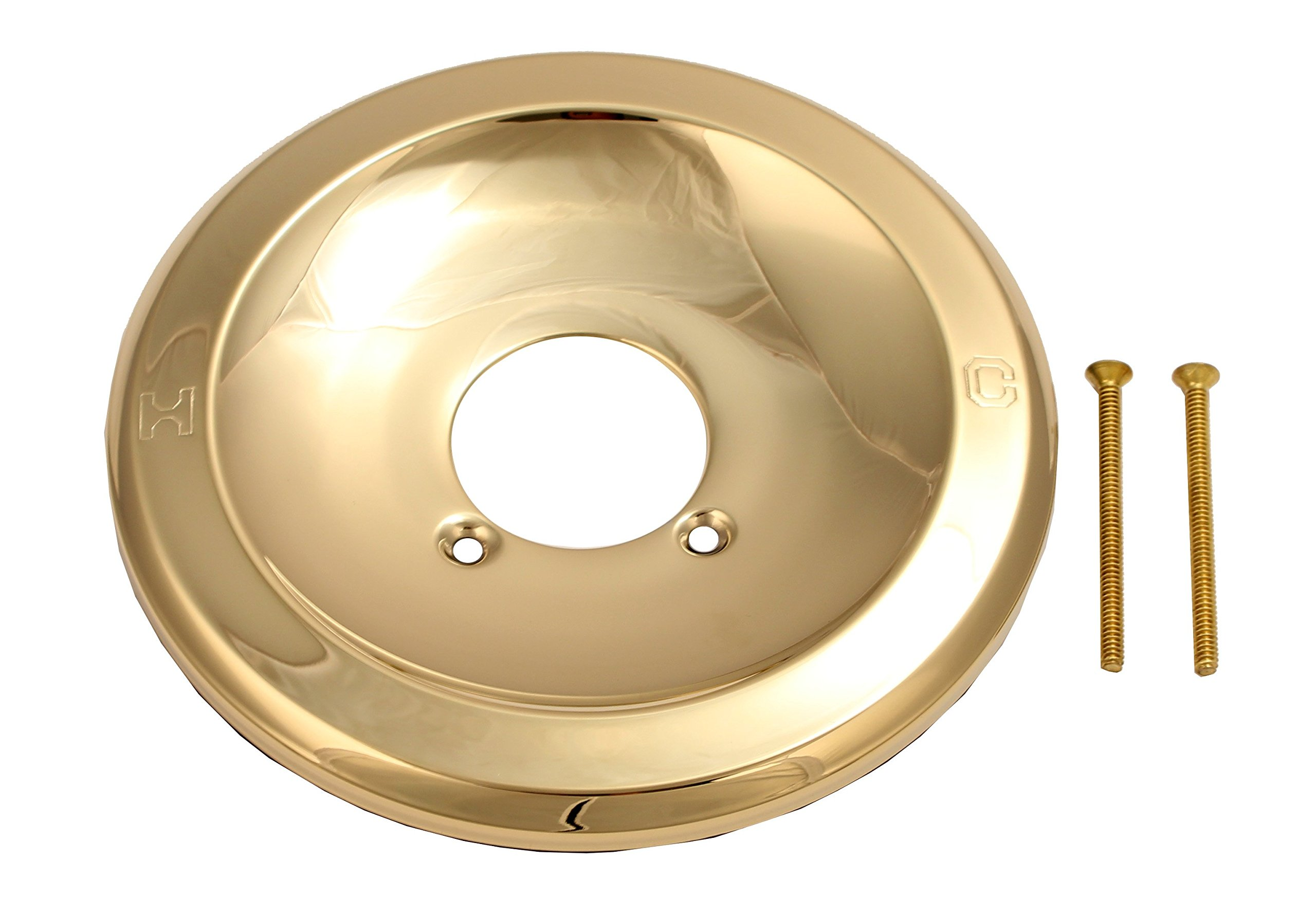 Shower Faucet Face Plate - Fit Delta, Peerless 1-handle Shower, Polish Brass Finish - By Plumb USA