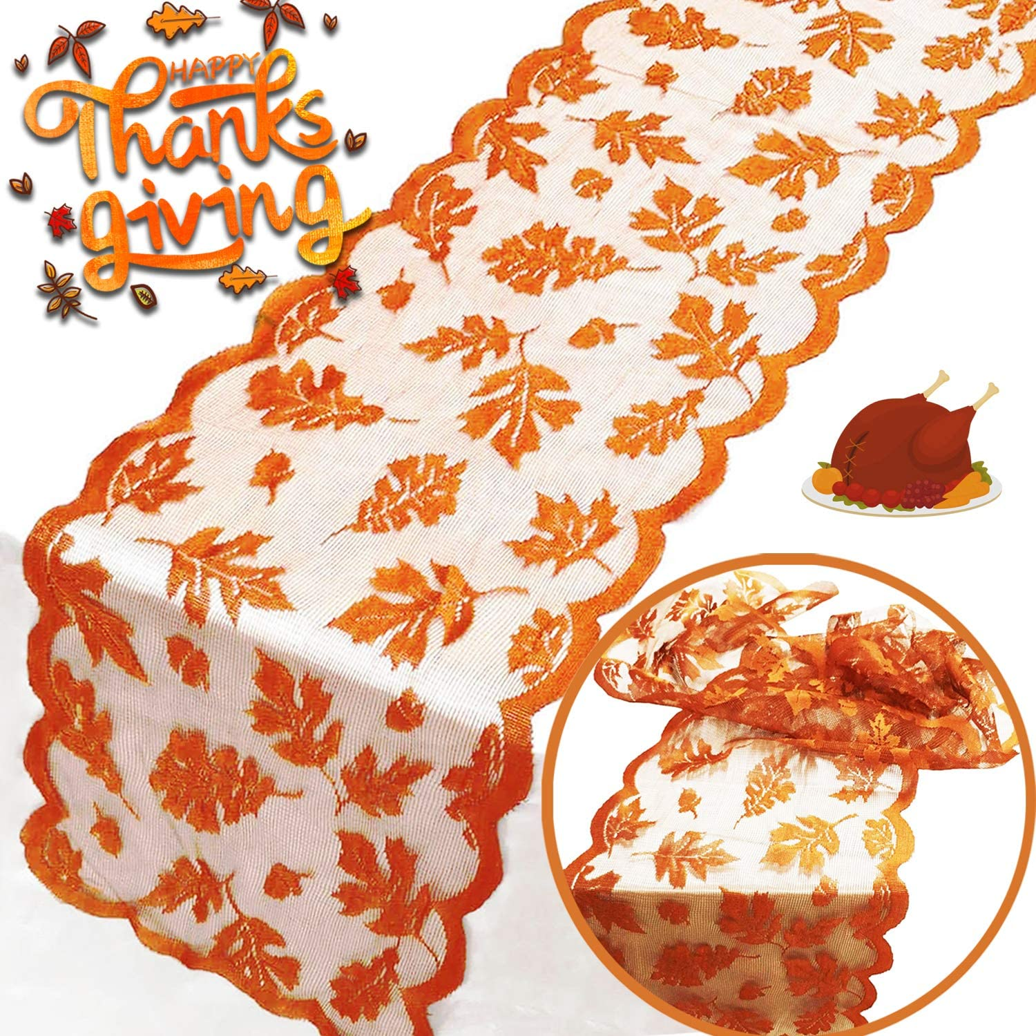 ????Fall Table Runner Thanksgiving Decorations, Maple Leaf Lace Table Runner for Thanksgiving Dinner Party Pumpkin Autumn Runner Harvest Table Decorations Autumn Home Indoor Seasonal Decor(13x72 Inch)