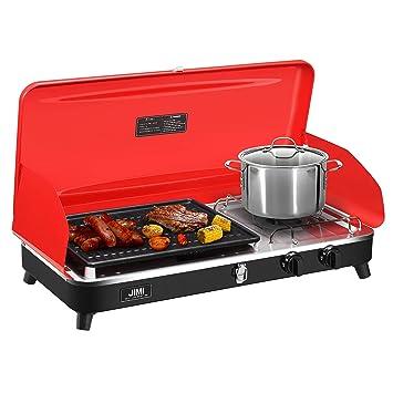 Rejilla portátil de 2 quemadores con manguera y adaptador para cocinar al aire libre, acampada y portón trasero: Amazon.es: Hogar