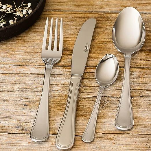 Monix Dover - Set de cubiertos 24 piezas de acero inox 18/c, con cuchillo normal: Amazon.es: Hogar