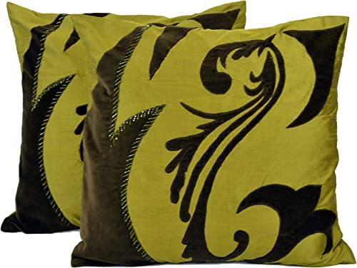 DRB Collection T-03029-F Embellished Throw Pillow, 18 X 18