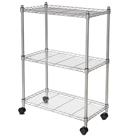 new concept 5962b 460f2 Homdox 3-Tier Organizer Rack Wire Shelving Unit Rolling Cart with  Wheels,Silver