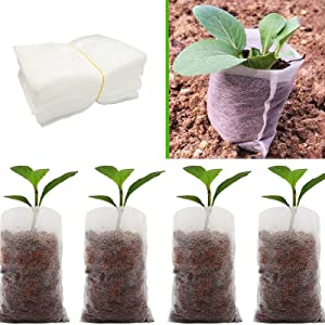 SUMTORY 600pcs Biodegradable Non Woven Nursery Bags Fabric Planter Pots Seed Starter Pots 3.15×3.92