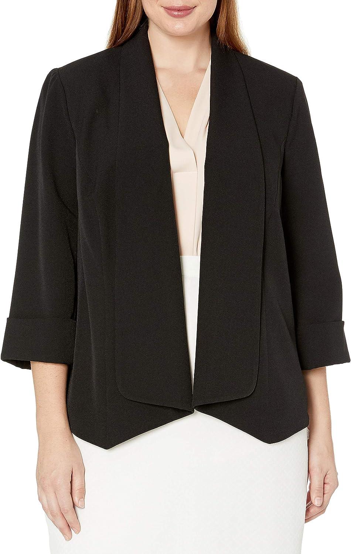 Kasper Women's Plus Size Stretch Crepe Flyaway Jacket