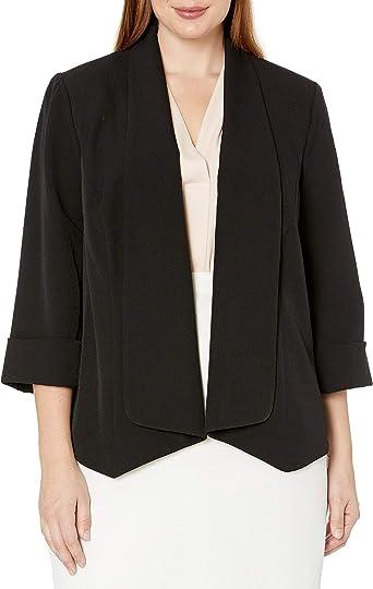 Choose SZ//Color Kasper Women/'s Stretch Crepe Flyaway Jacket W// Pockets