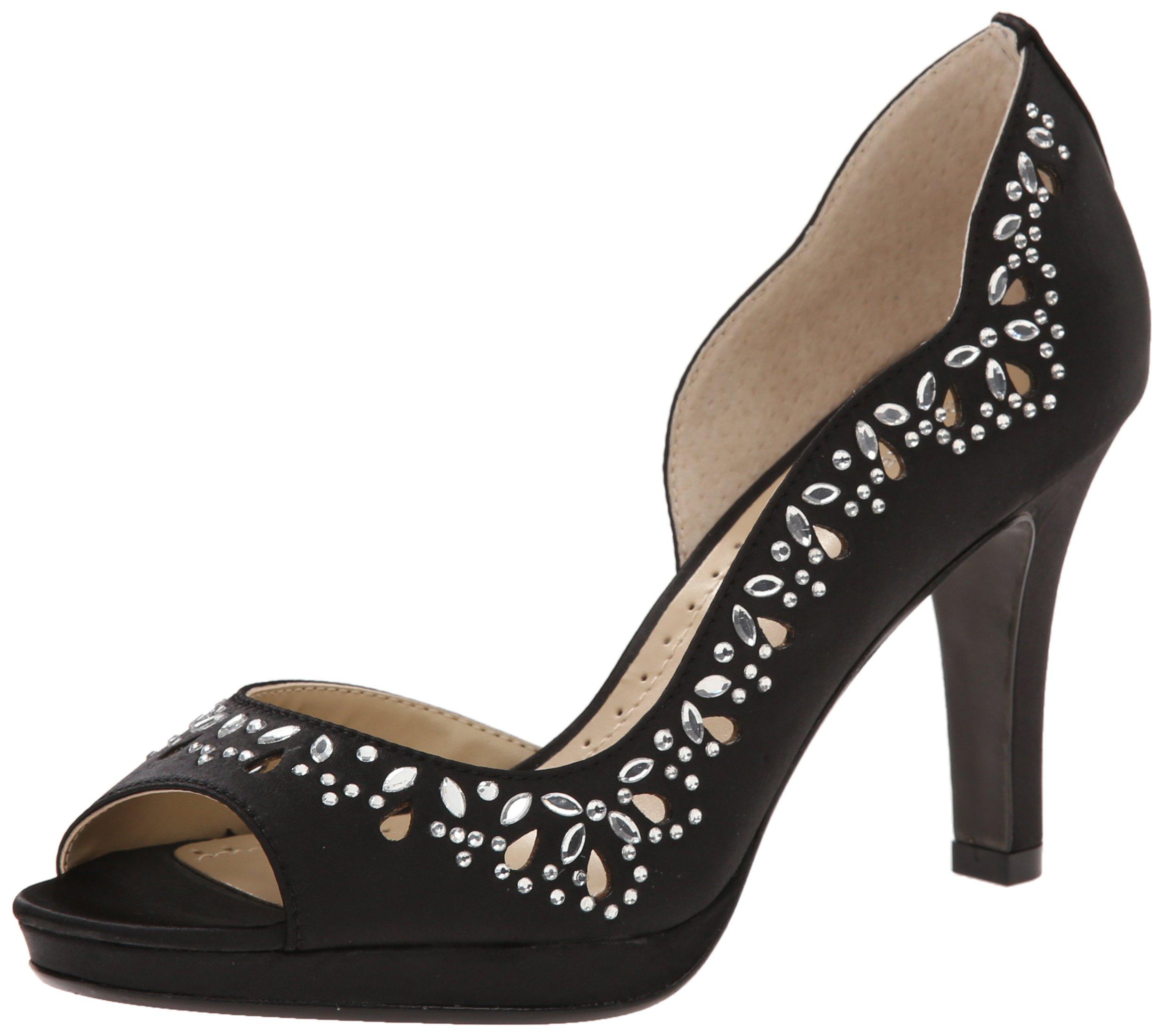 ADRIENNE VITTADINI Footwear Women's Glass D'Orsay Pump, Black, 8 M US