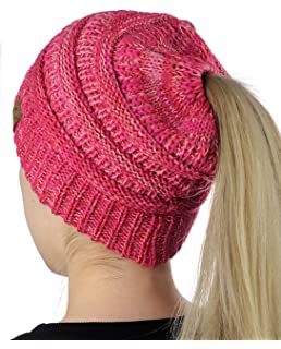 7e811207ed5 CC BeanieTail Soft Stretch Cable Knit Messy High Bun Ponytail Beanie Hat