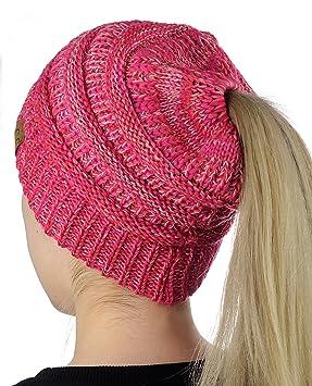 CC BeanieTail Soft Stretch Cable Knit Messy High Bun Ponytail Beanie Hat -  3-tone 8074325b264e