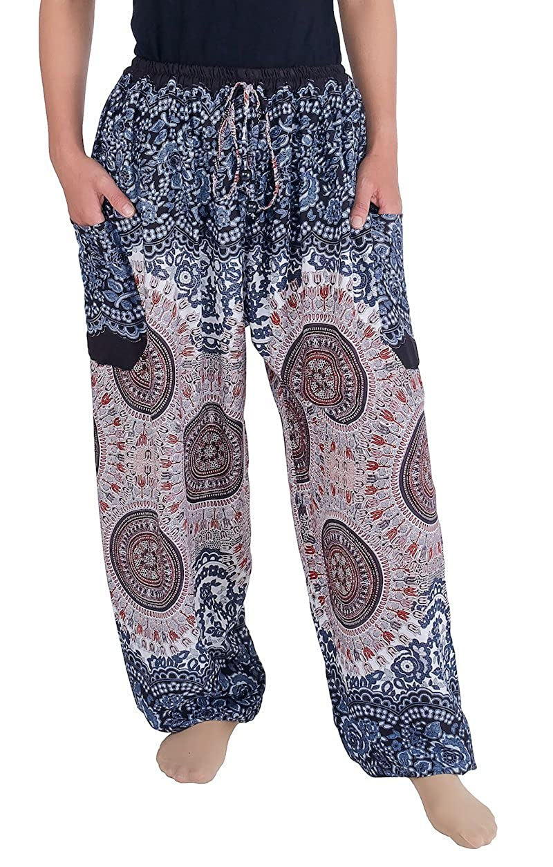 Lannaclothesdesign Women's Drawstring Harem Pants Sweat Trousers Hippie Style