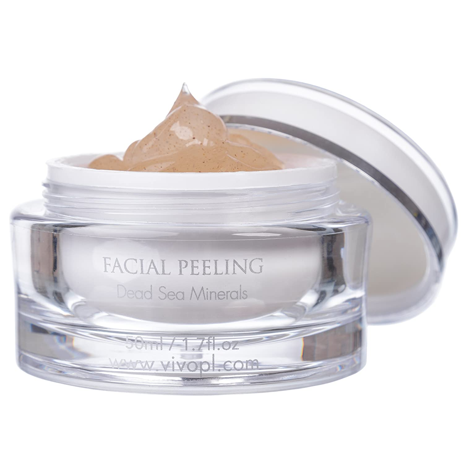 Vivo Per Lei Dead Sea Facial Peeling Gel | Contains Dead Sea Minerals and Nut Shell Powder | Gentle Face Exfoliator Scrub and Blackhead Remover | Peel Your Skin to a Fresher You | 1.69 Fl. Oz. 609728457532