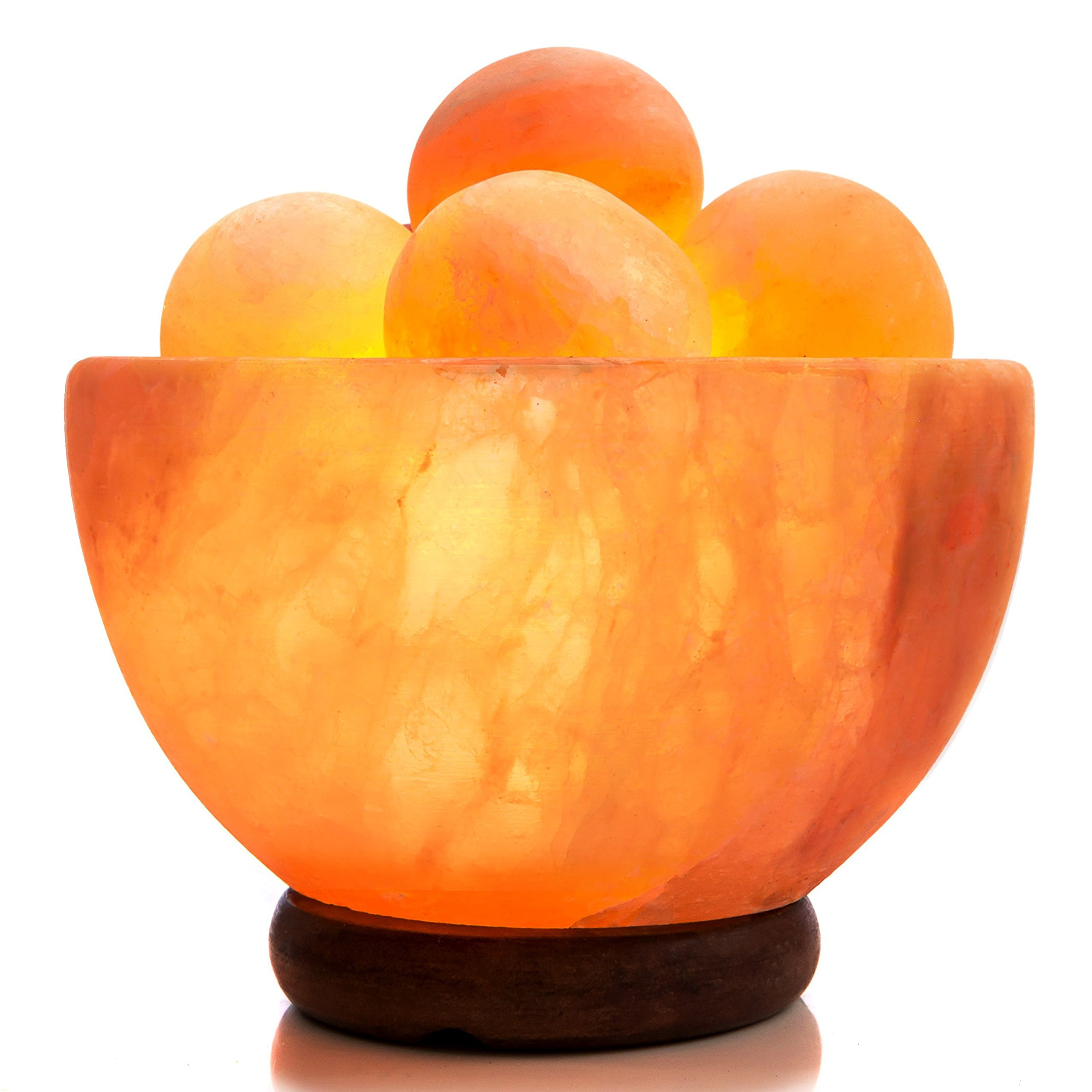 UMAID Natural Himalayan Rock Sea Salt Lamp Bowl with 5 Heated Salt Massage Balls, Stylish Wood Base, Bulb with Dimmable Switch UL-Listed Cord