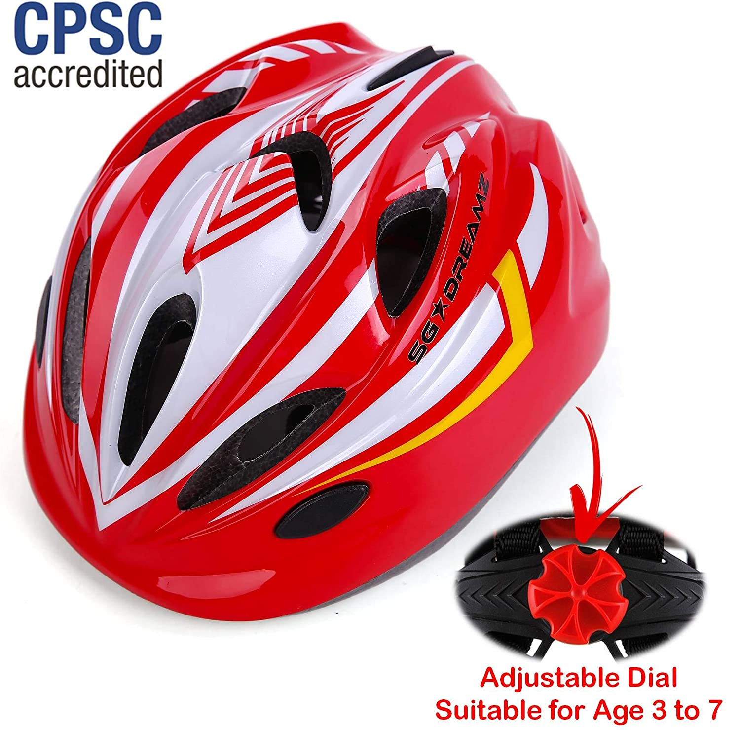 Scooter Kids Bike Helmet for Bicycle Cycling Skateboard Durable Toddler Kid Bicycle Helmets Boys and Girls Will Love Kasto Adjustable Harness from Age 3 to 7 for Head Size 19.6-22 inch