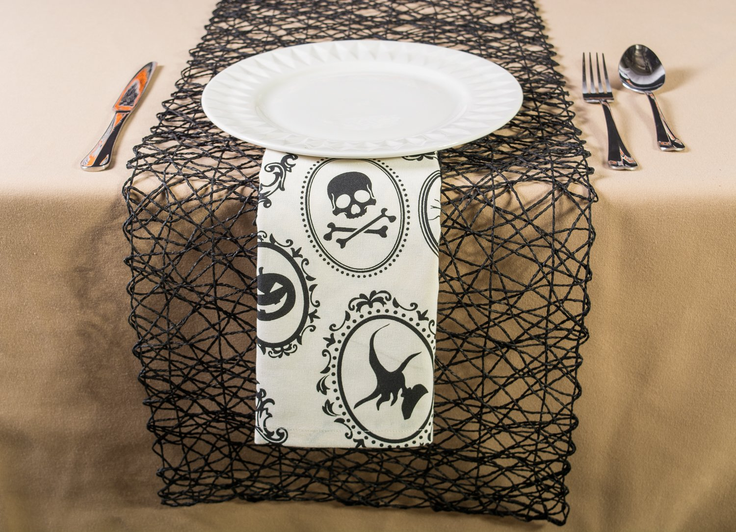 DII Oversized 20x20'' Cotton Napkin, Black & White Halloween Portrait - Perfect for Halloween, Dinner Parties and Scary Movie Nights by DII (Image #11)