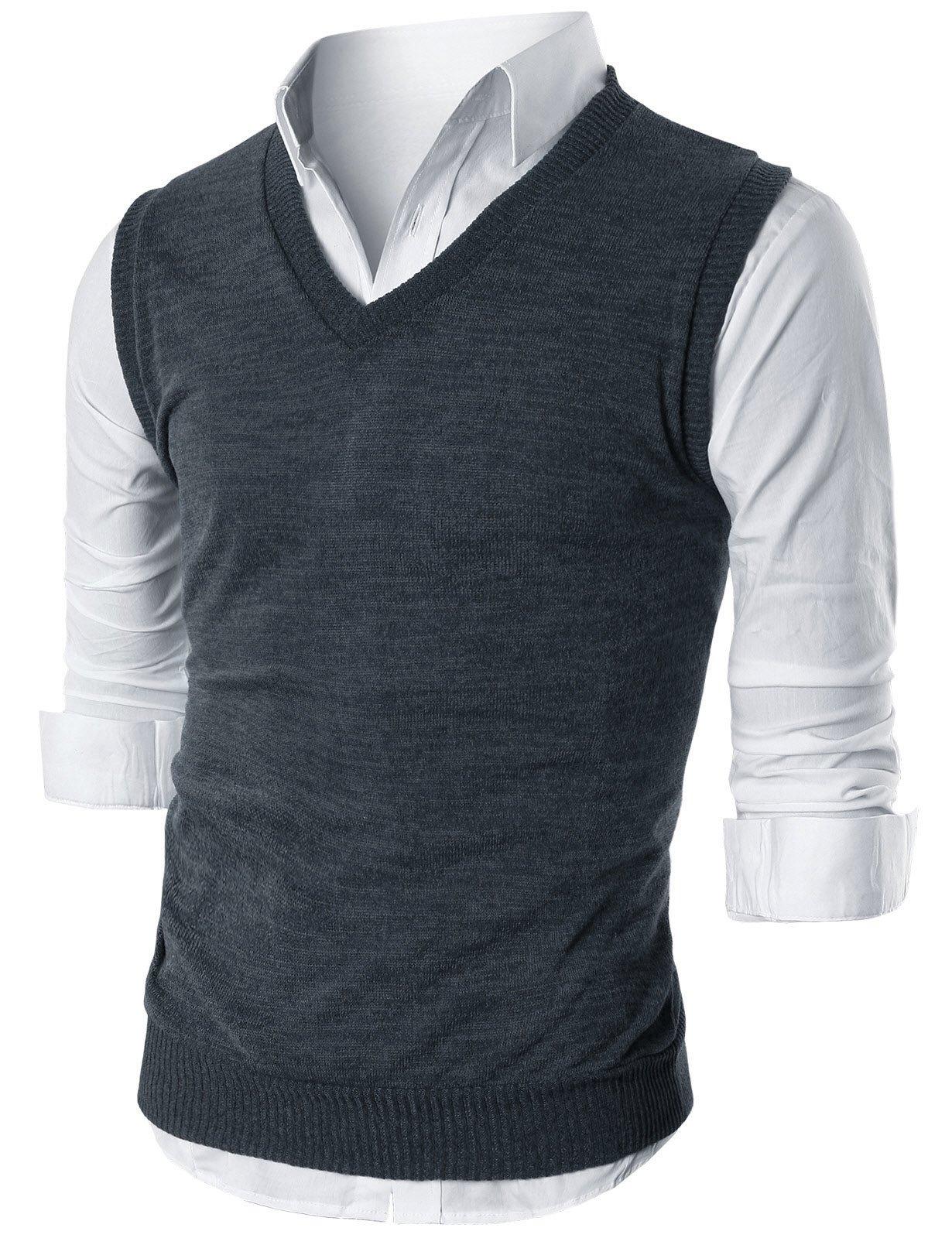 Ohoo Mens Slim Fit Casual V-Neck Knit Vest/DCV010-DARKCHARCOAL-L