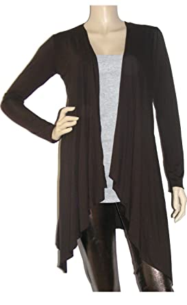 Long Sleeved Waterfall Cardigan(Size 8 - 22) (8, Brown): Amazon.co ...