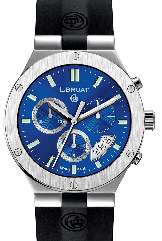 Schweizer Sportuhr - L. Bruat-Chronograph Ø 40 - blau metallic