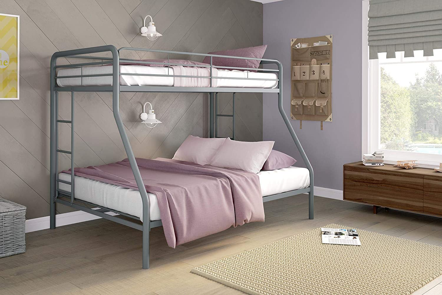 new product 2c5de d72f5 DHP Twin-Over-Full Bunk Bed with Metal Frame and Ladder, Space-Saving  Design, Silver