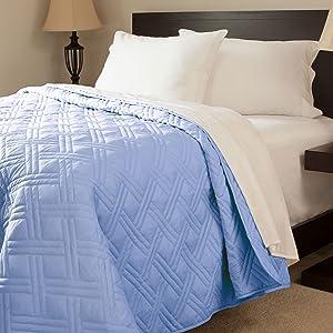 Lavish Home Solid Color Bed Quilt, King, Blue