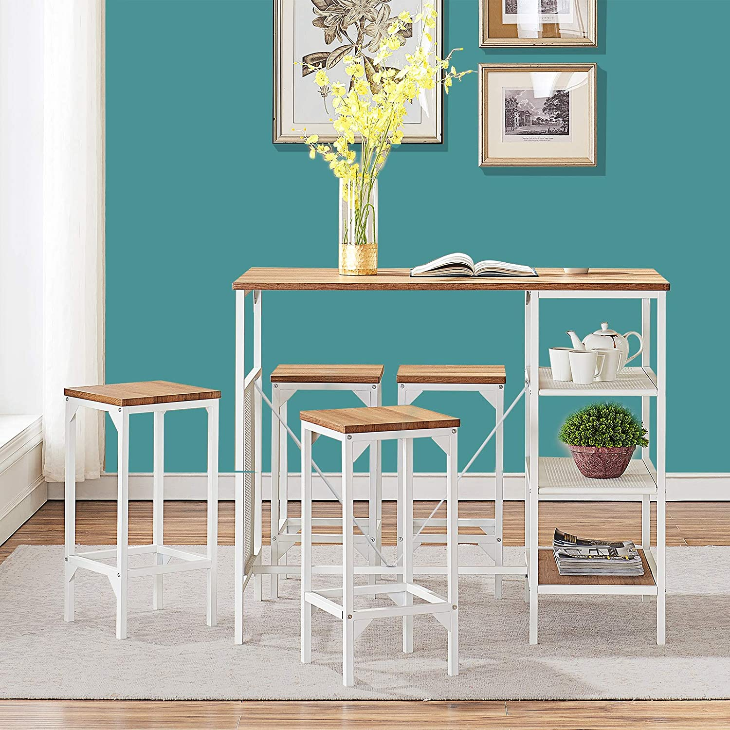 O&K FURNITURE Small 5-Piece Dining Room Bar Table Set, Modern Industrial Bistro Restaurant Dining Table and Stool Set, Home Kitchen Furniture, Oak Finish