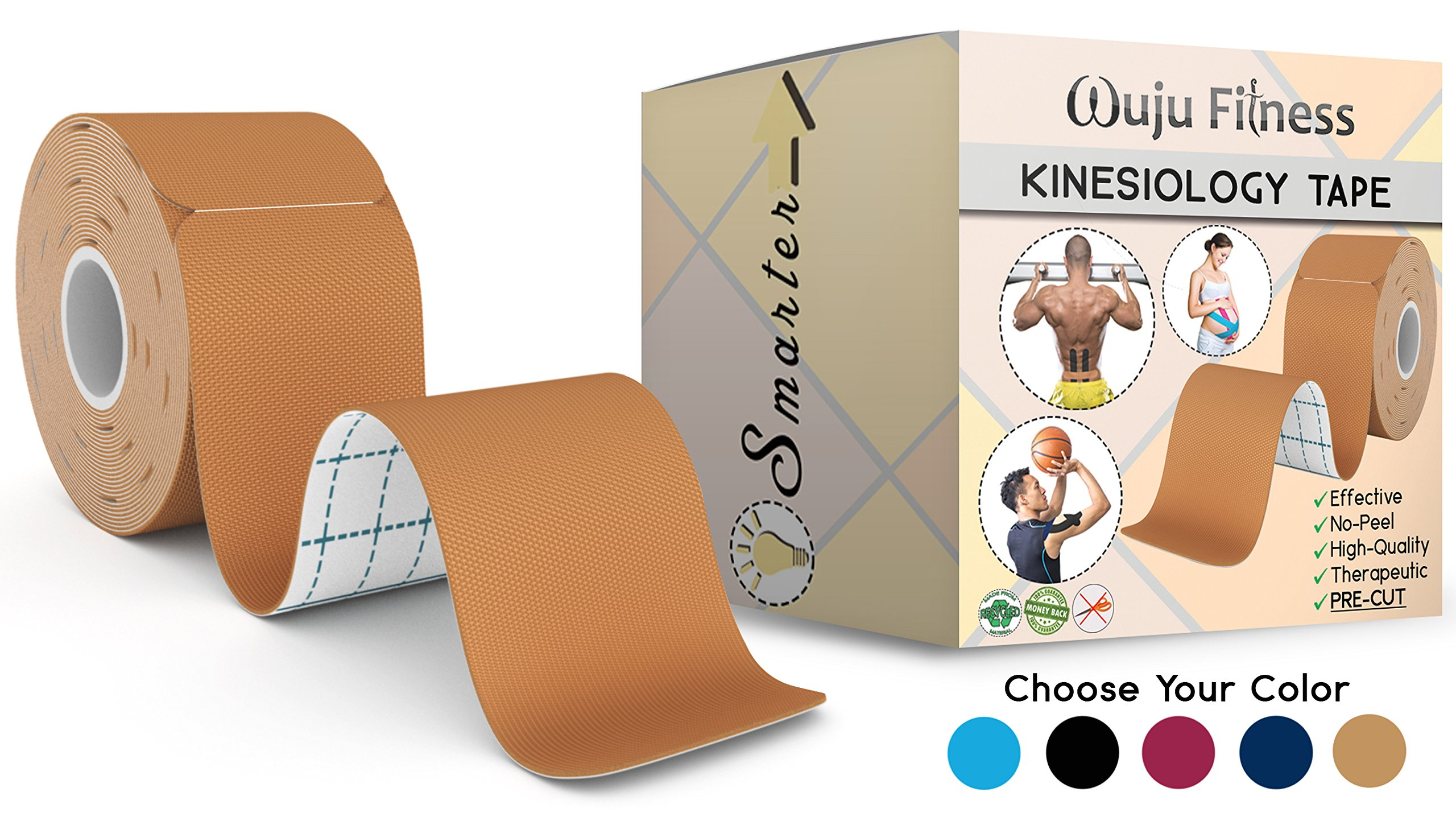 """Athletic Tape for First Aid Kit, Physical Support Therapy, Sports Exercises. Lower Back, Heel, Foot, Joint, Shoulder, Muscle and Plantar Fasciitis Pain Relief. 20 precut Nude KT strips 2""""x10 by Wuju Fitness"""