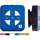 BERTRONIC ® MP3-Player Everest Royal - Blau - Mini Musik Player mit Gürtel-Clip Funktion, microSD Steckplatz für Karten bis 32 GB, ohne internen Speicher - Akkulaufzeit bis zu 15 Stunden - Robustes Metallgehäuse