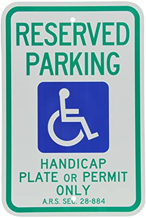 Smartsign Handicap Parking Sign Reserved Parking Handicap Plate Or