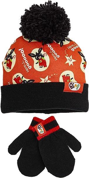 Regali di Natale per Bambini a Tema Personaggi Coniglio Bing Bunny Serie TV con Hoppity Voosh Bing Bunny Set Cappello e Guanti Bambino Morbido Caldo Berretto Pompon Unisex